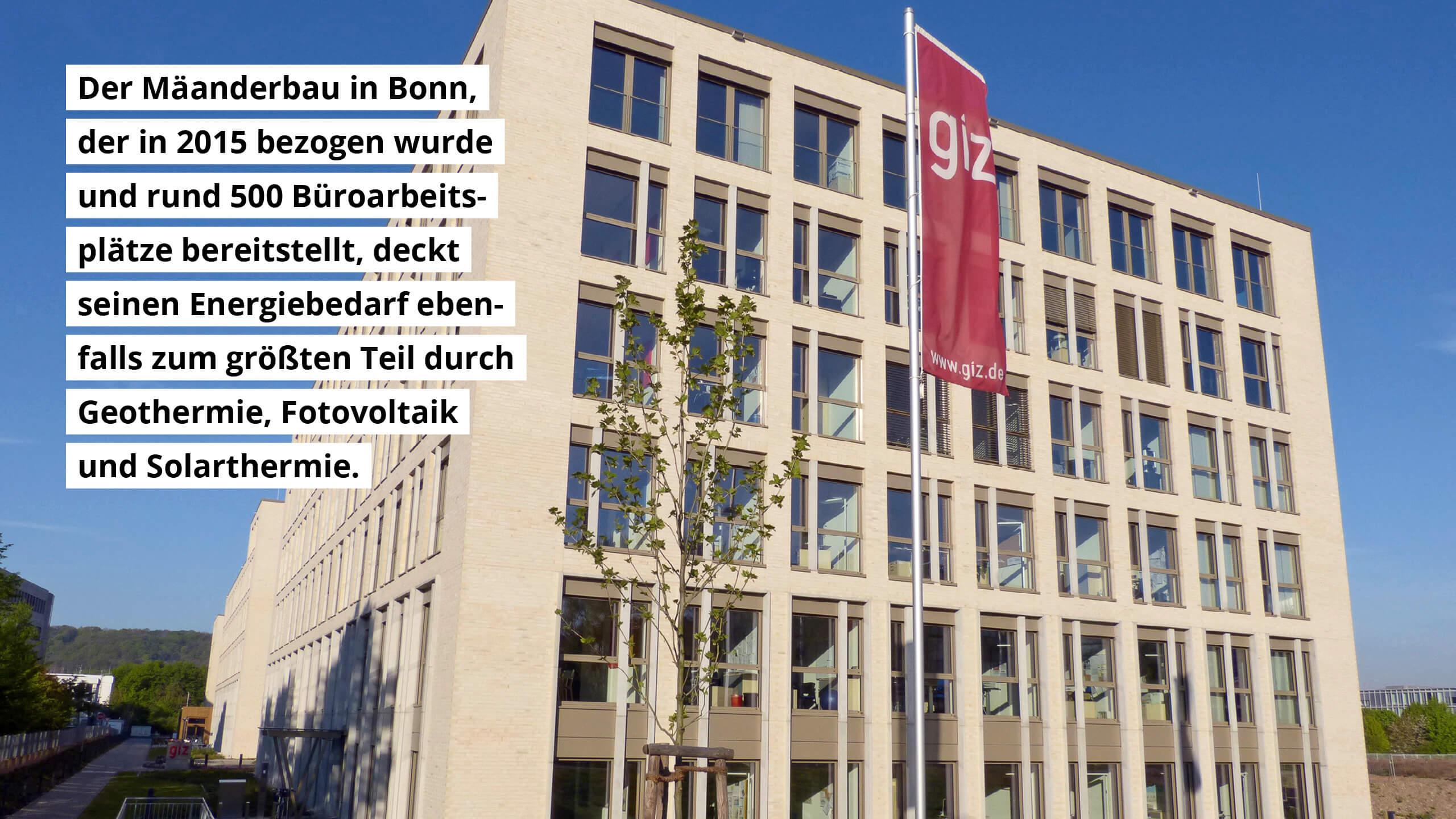 Der Mäanderbau in Bonn deckt seinen Energiebedarf ebenfalls größtenteils mit Geothermie, Fotovoltaik und Solarthermie.