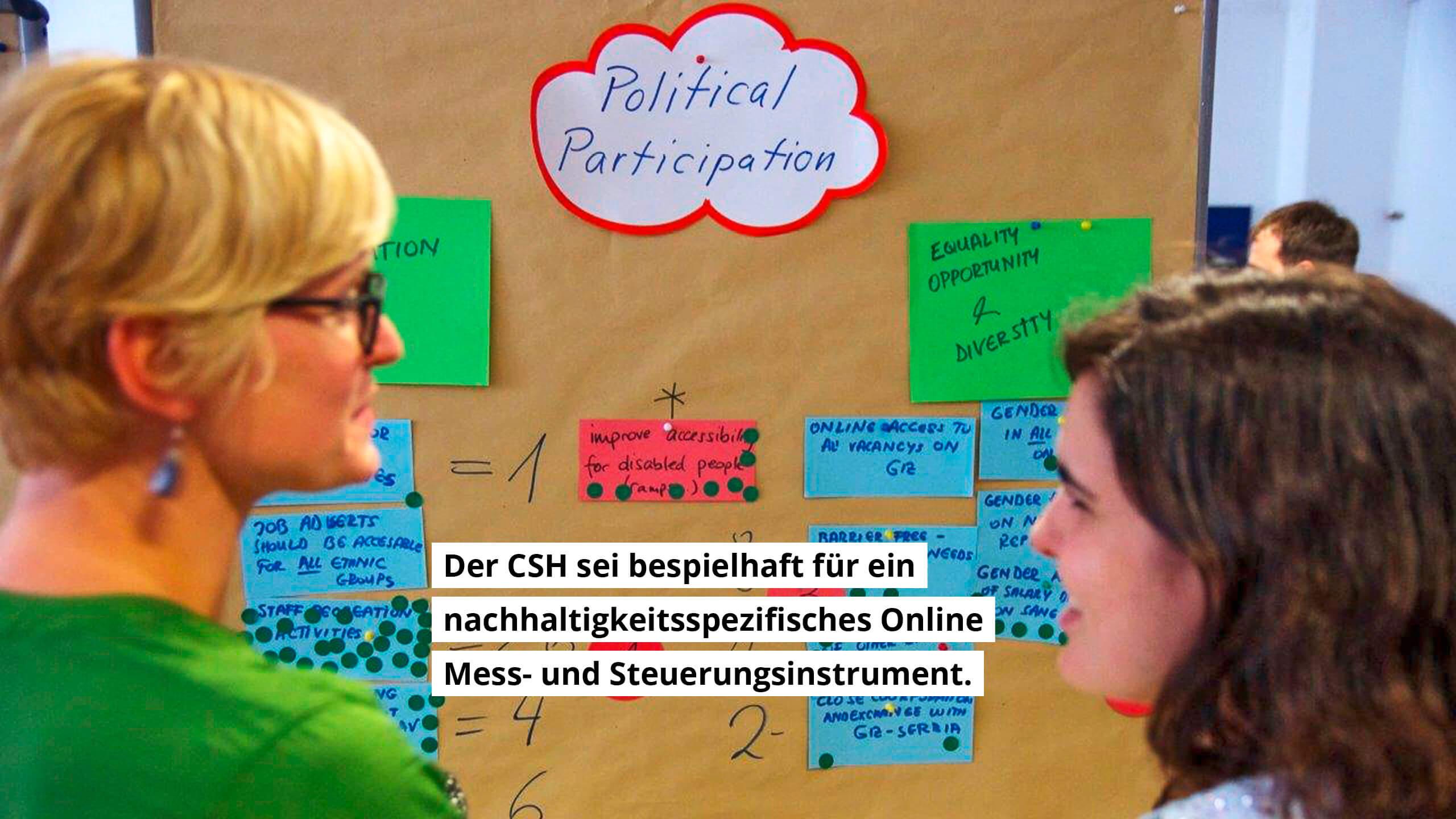 Der CSH sei beispielhaft für ein nachhaltigkeitsspezifisches Online Mess- und Steuerungsinstrument.