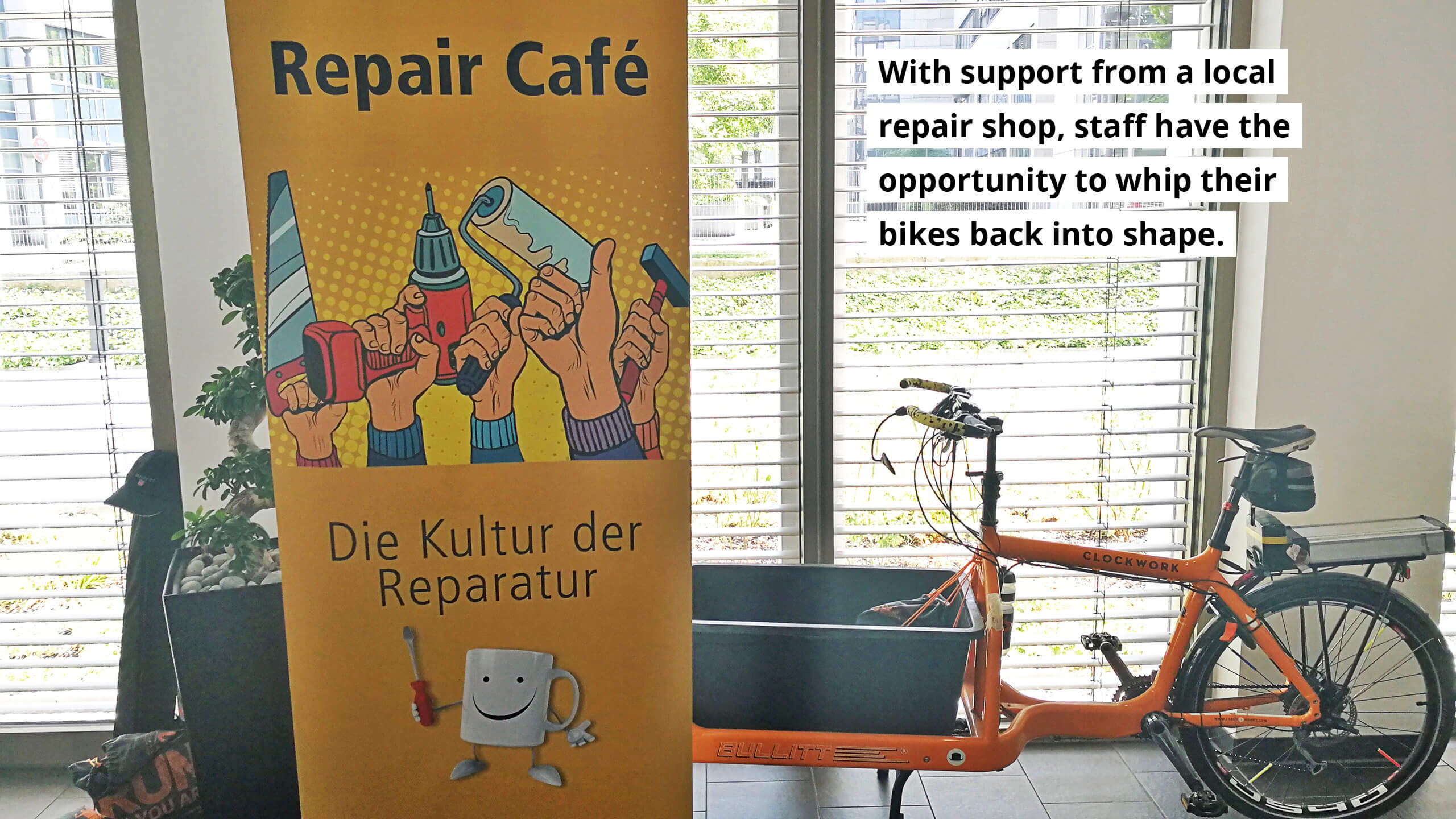 With support from a local repair shop, staff have the opportunity to whip their bikes back into shape.