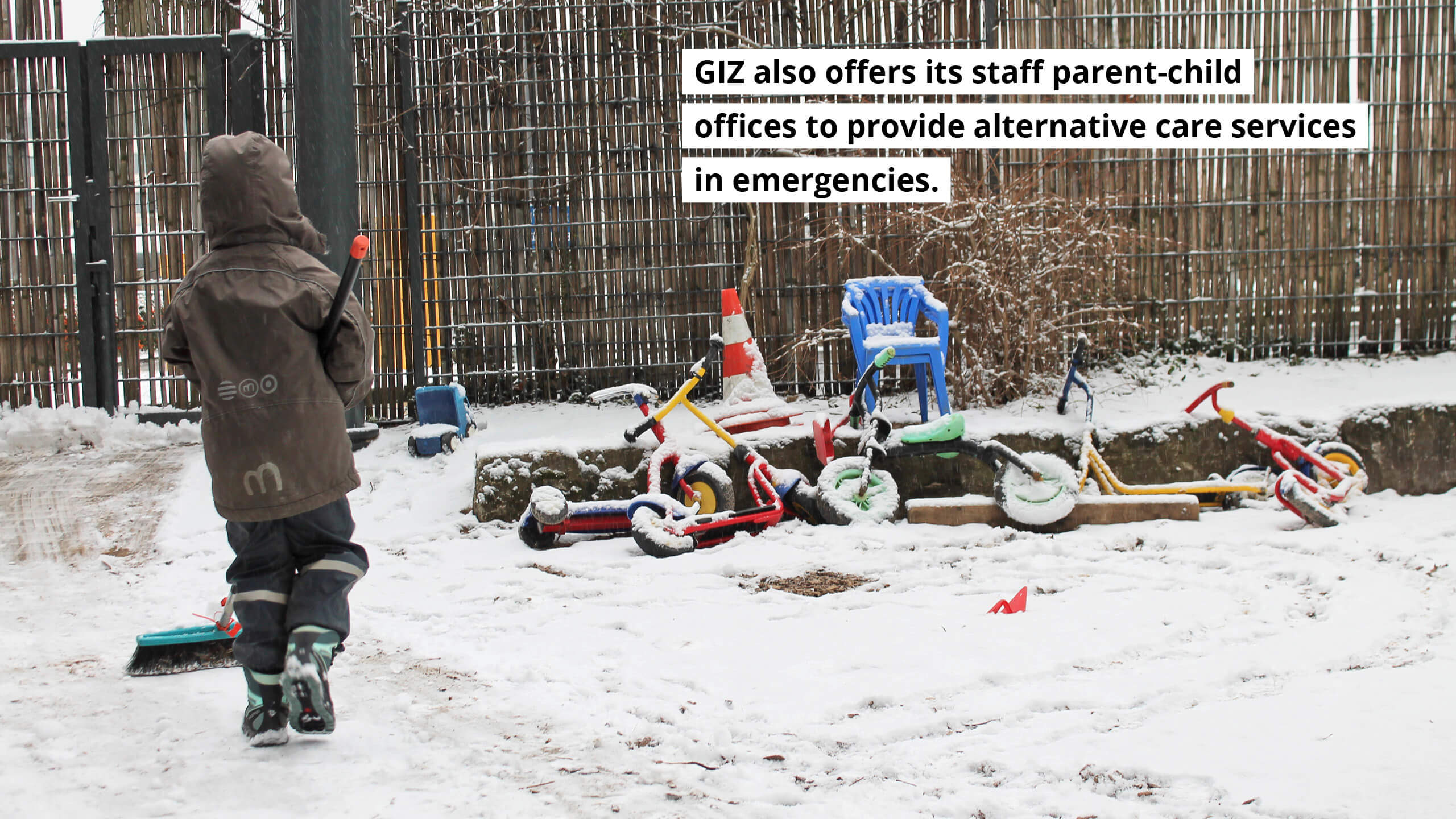 GIZ also offers its staff parent-child offices to provide alternative care services.